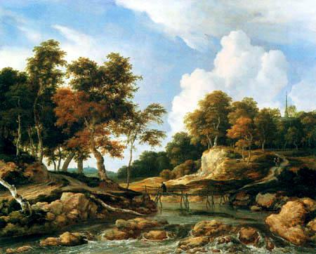 Jacob Isaack van Ruisdael - River landscape with timber bridge