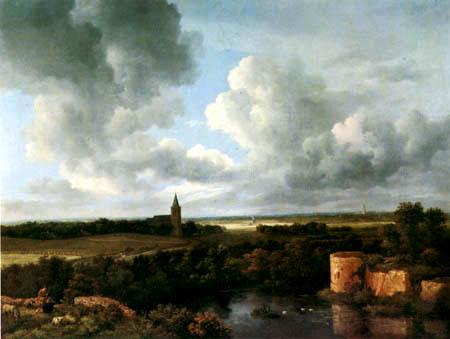Jacob Isaack van Ruisdael - Landschaft mit Ruinen und Dorfkirche