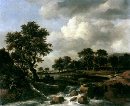 Jacob Isaack van Ruisdael - River landscape with shepherd