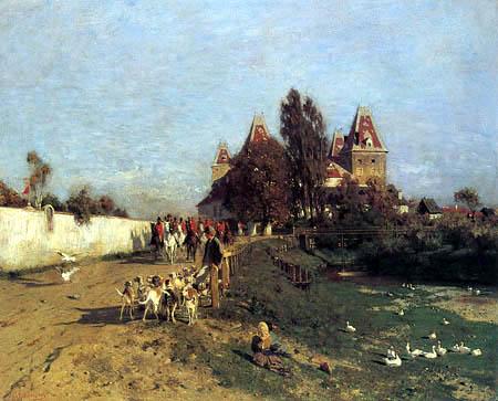 Franz Rumpler - Ausritt zur Parforce-Jagd aus Schloß Orth