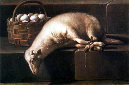 Giovan Battista Ruoppolo - Paschal lamb and a basket of eggs