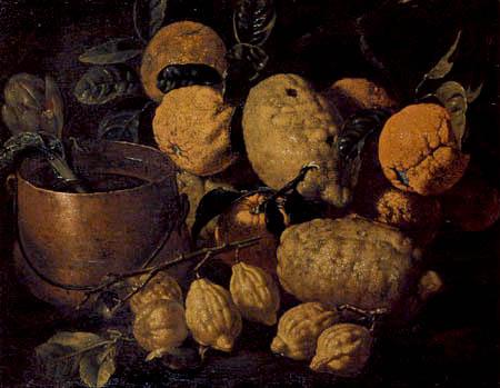 Giuseppe Ruoppolo - Stilleben mit Artischocke und Zitrusfrüchten