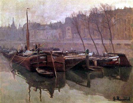 Santiago Rusiñol - Boats in the Seine