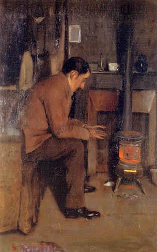 Santiago Rusiñol - Miquel Utrillo before the stove