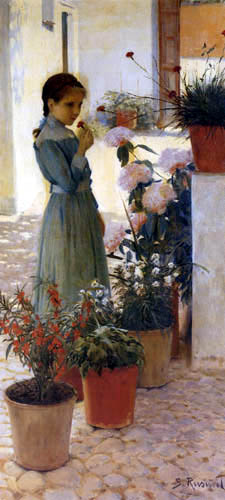 Santiago Rusiñol - The girl with the carnation