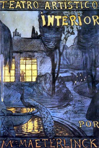 """Santiago Rusiñol - Plakat für """"Interior"""" von Maurice Maeterlinck"""