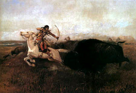 Charles M. Russell - Indian on buffalo hunt