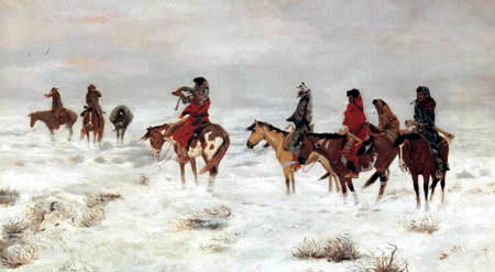 Charles M. Russell - Lost in the blizzard
