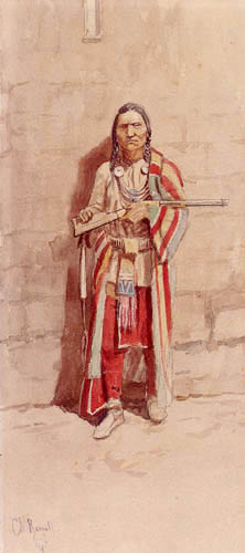 Charles M. Russell - Indian with his Winchester