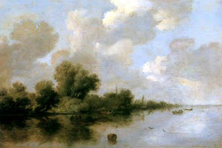Salomon van Ruysdael - A riverbank