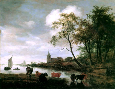 Salomon van Ruysdael - Cows at a river