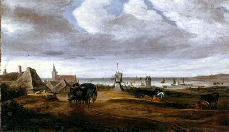 Salomon van Ruysdael - Village at the coast