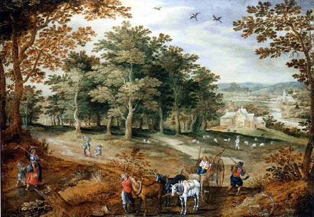 Marten Ryckaert - A wooded landscape with travellers and a cart