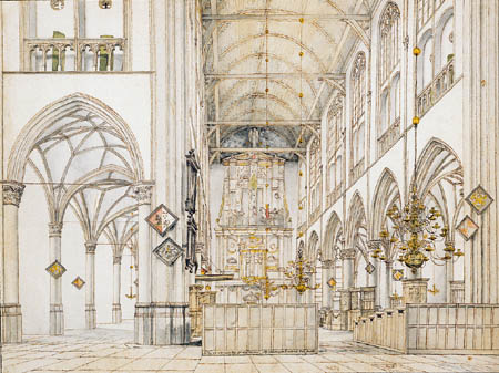 Pieter Saenredam - Interior of the Church of Lauren in Alkmaar