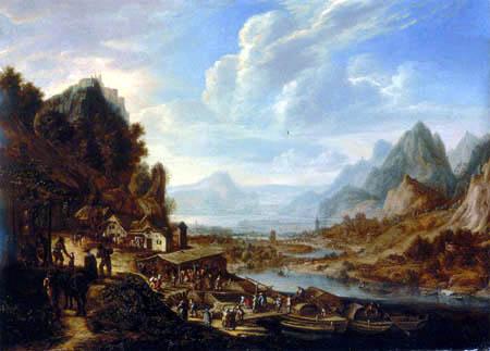 Herman Hermansz. Saftleben (Saftleven, Sachtleven) - River landscape with peasants