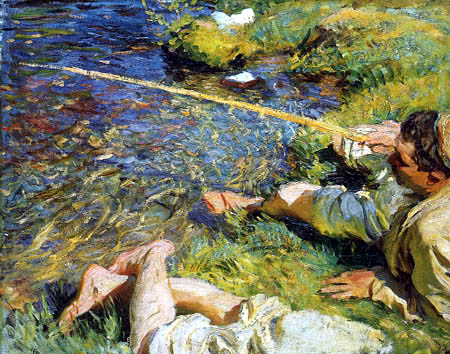 John Singer Sargent - Val d´Aosta, Ein Mann beim Angeln