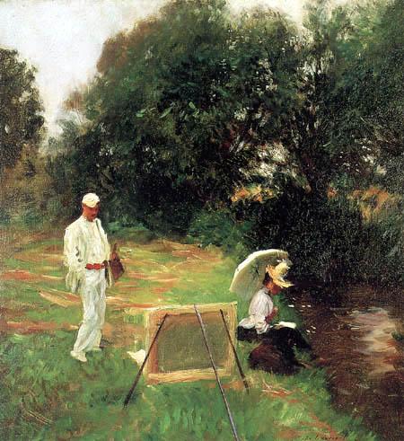 John Singer Sargent - Dennis Miller Bunker Painting at Calcot