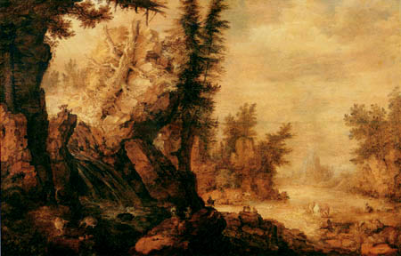 Roelant Savery - Wooded river landscape