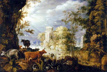 Roelant Savery - Un paysage boisé avec des animaux par un lac