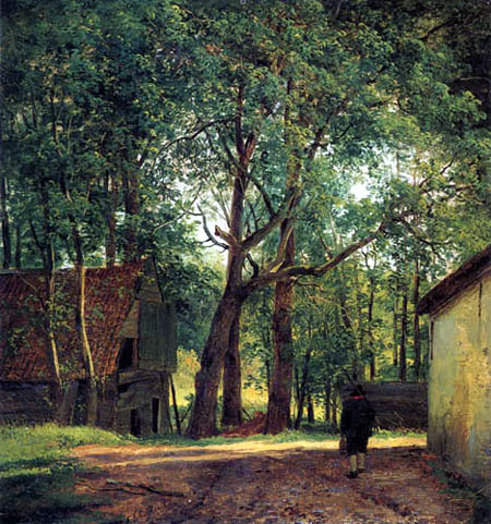 Andreas Schelfhout - Farm under trees
