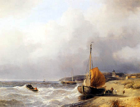 Andreas Schelfhout - Fisherfolk by a Beached Bomschuit