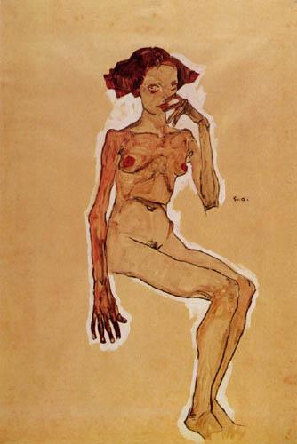 Egon Schiele - Sitzender Mädchenakt