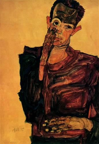 Egon Schiele - Selbstbildnis mit einer Hand an der Wange