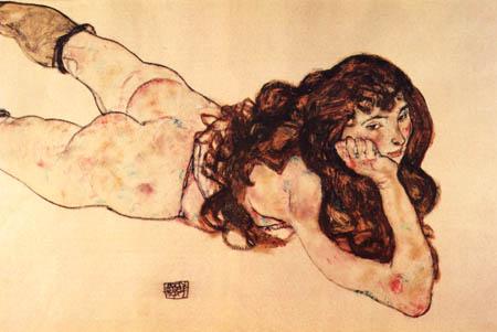 Egon Schiele - Auf dem Bauch liegender Mädchenakt