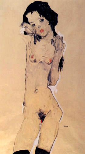 Egon Schiele - Schwarzhaariges Mädchen