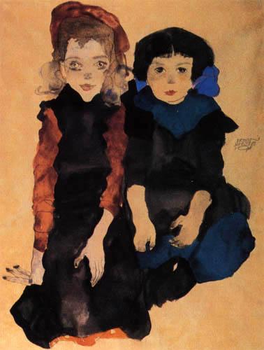 Egon Schiele - Dos niñas