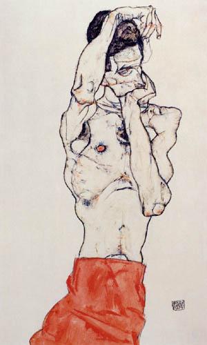 Egon Schiele - Männlicher Akt mit rotem Lendentuch