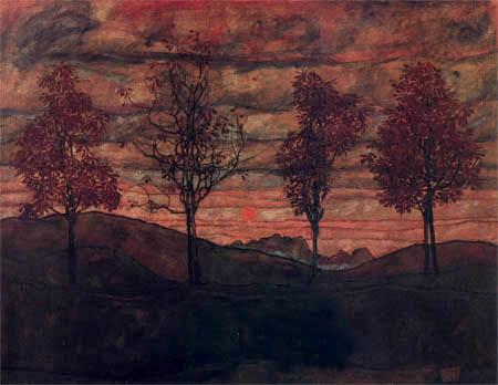 Egon Schiele - Four trees