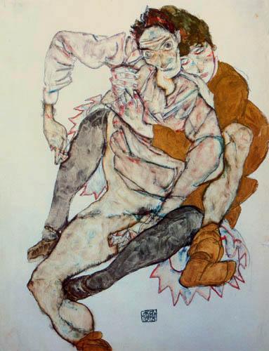 Egon Schiele - Sitzendes Paar