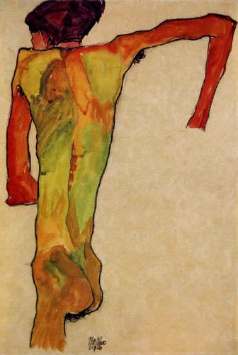 Egon Schiele - Männlicher Rückenakt