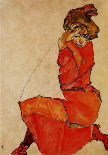 Egon Schiele - Lady in orange red dress