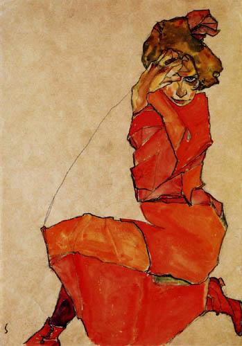 Egon Schiele - Kniende in orangerotem Kleid