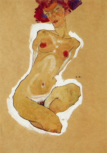 Egon Schiele - Hockender weiblicher Akt