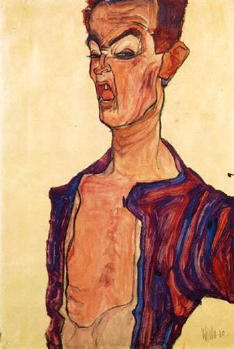 Egon Schiele - Selbstdarstellung, grimmassierend