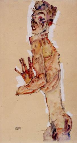 Egon Schiele - Selbstakt mit gespreizten Fingern