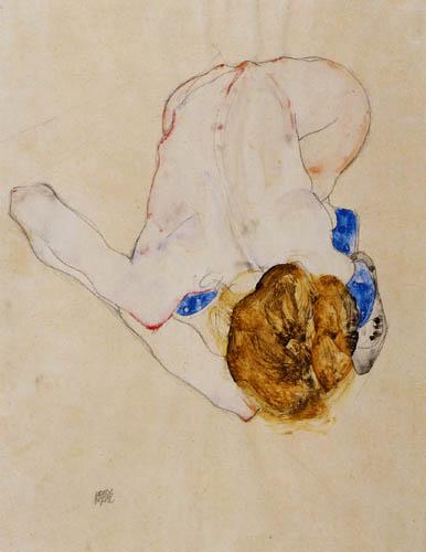 Egon Schiele - Gebeugter Akt mit blauen Strümpfen