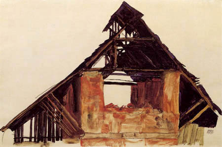 Egon Schiele - A old gable