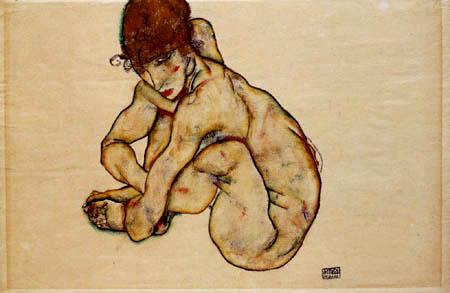Egon Schiele - Kauernder Mädchenakt