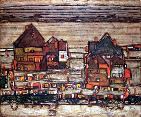 Egon Schiele - Häuser mit bunter Wäsche