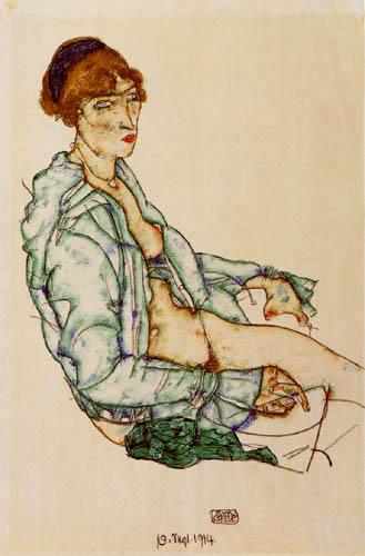 Egon Schiele - Nude con banda de pelo azul