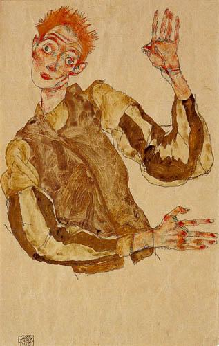 Egon Schiele - Self portrait with red hair
