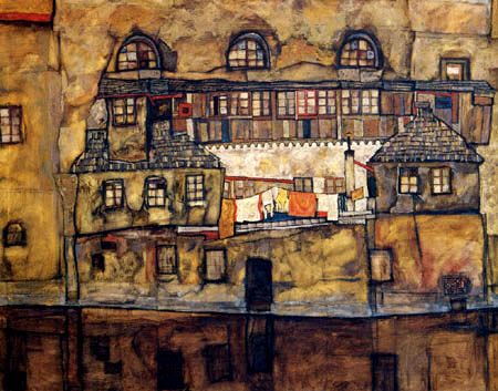 Egon Schiele - Hauswand am Fluß