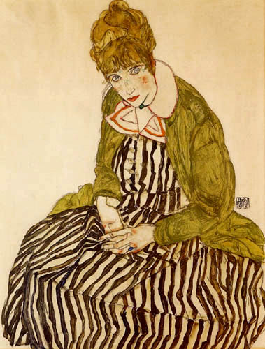 Egon Schiele - Edith with touched dress