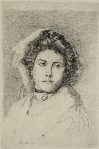 Egon Schiele - Bildnis einer Dame mit einem Medaillon