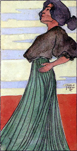 Egon Schiele - Woman in green skirt