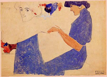 Egon Schiele - Sitzende Dame in blauem Kleid